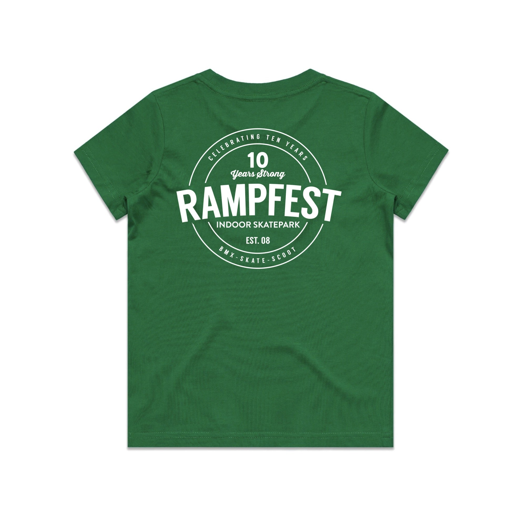 Youth Rampfest 10 Year Anniversary Tee - Green/White