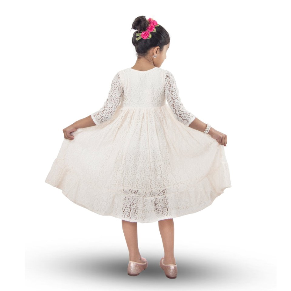 Handmade Size Adjustable Girls Lace Dress Ivory