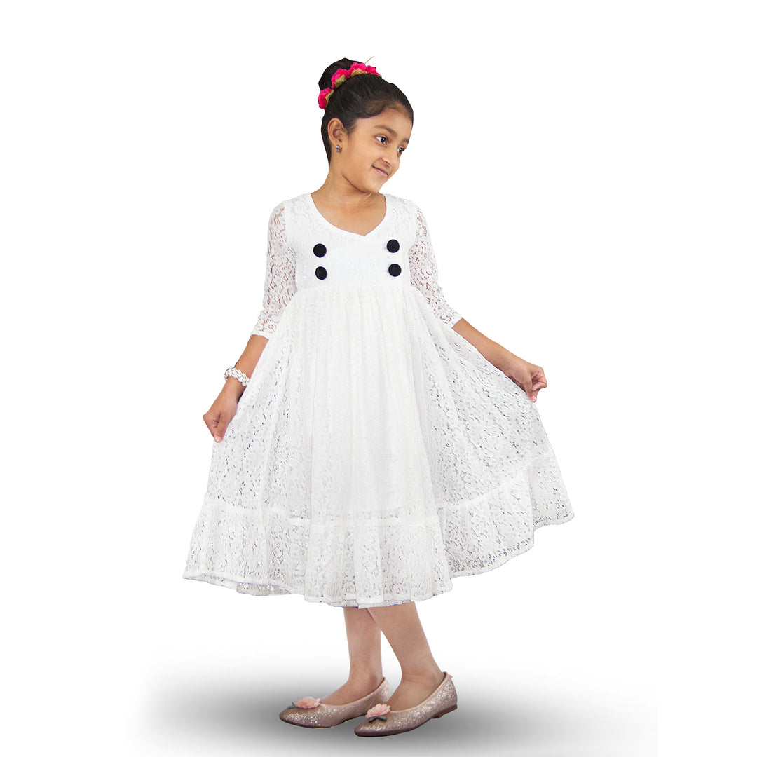 Handmade Size Adjustable Girls Lace Dress White