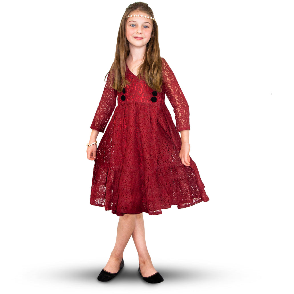 Handmade Size Adjustable Girls Lace Dress Wine Red