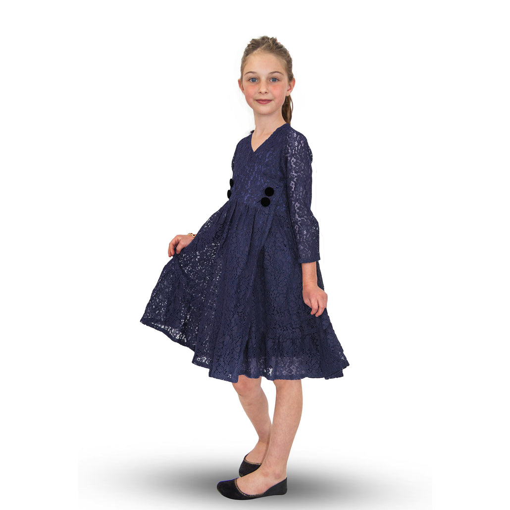 Handmade Size Adjustable Girls Lace Dress Blue
