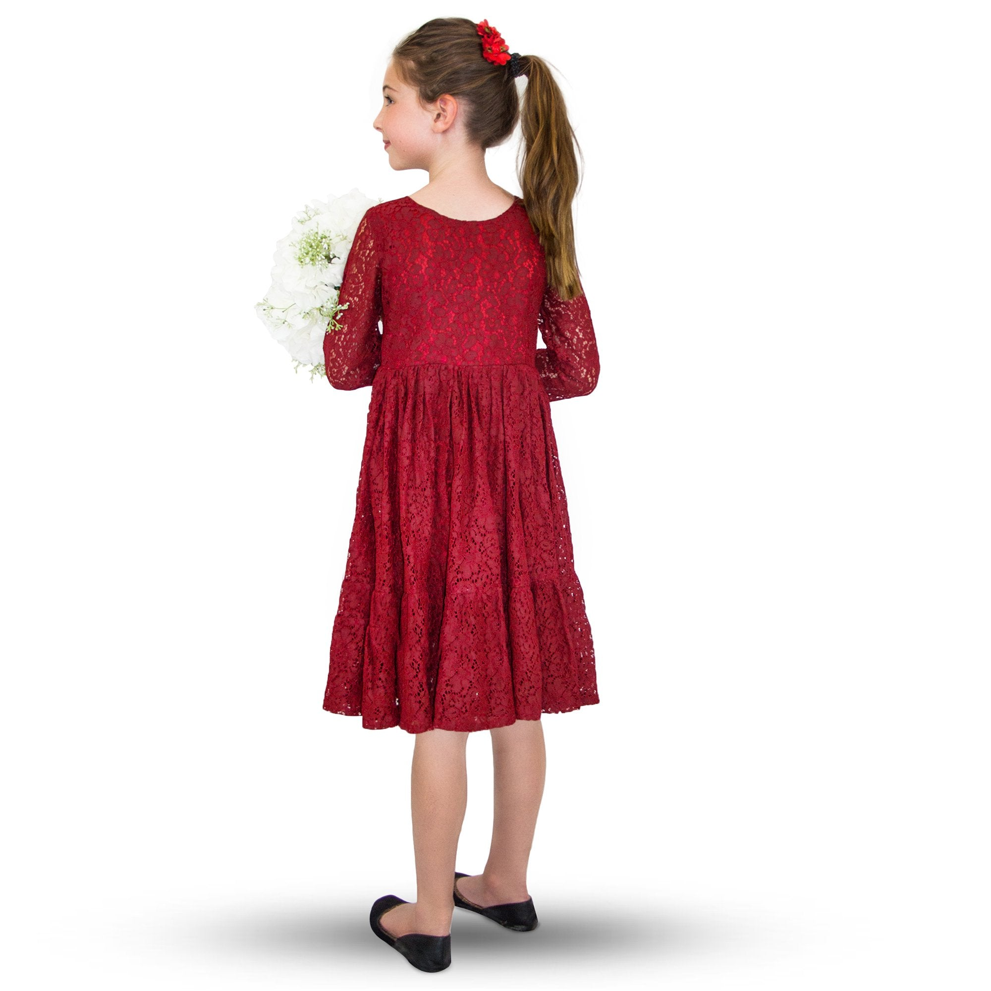 Lace Dress Burgundy Red