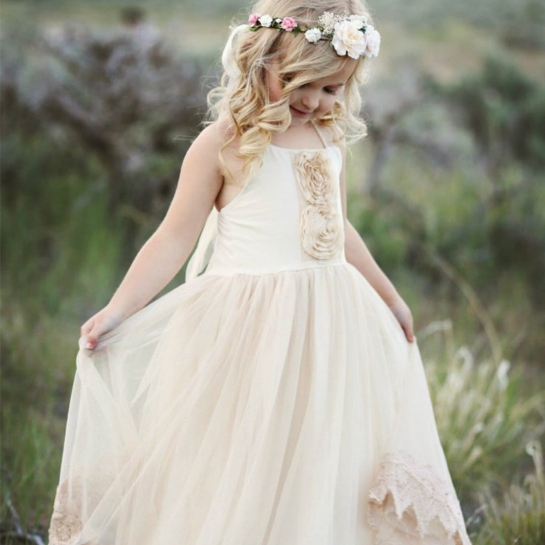 Flower Girl Lace Champagne Dress