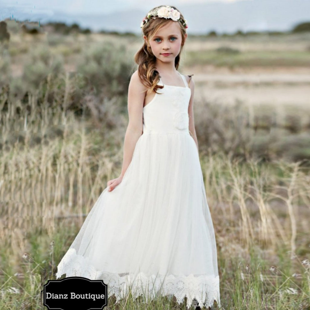 Flower Girl Lace Off-white Dress