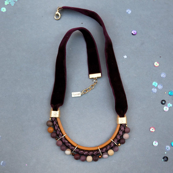 Mustard & Wine Velvet Necklace