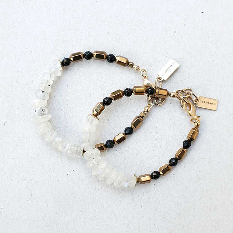 White and black Moonstone Bracelet