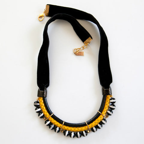 Black and Yellow Velvet Necklace