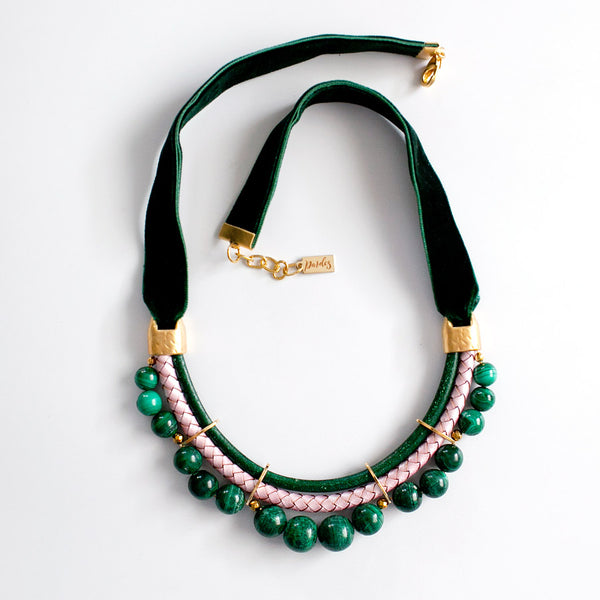 Green Malachite Velvet Necklace