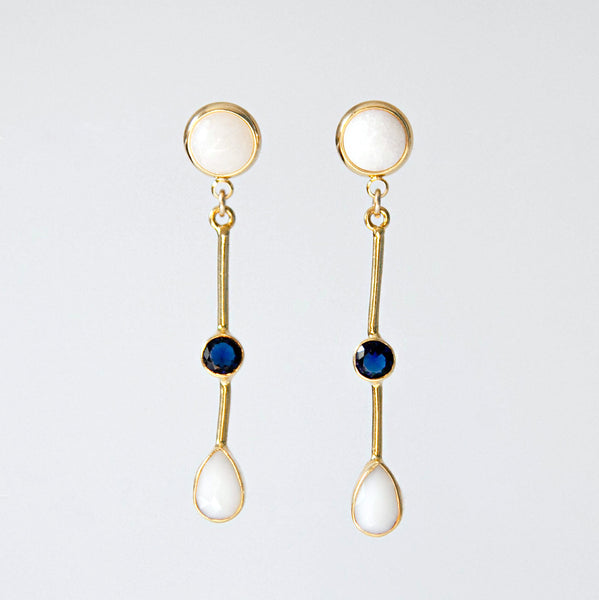 White Opal & Sapphire Earrings