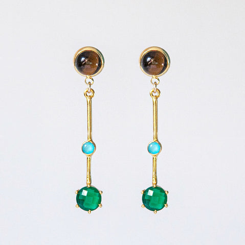 Emerald & Aqua Chalcedony Earrings