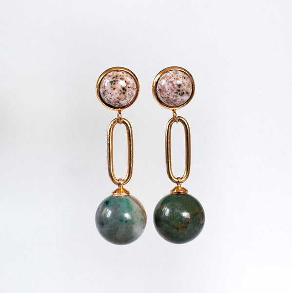 Indian Agate Ball Earrings