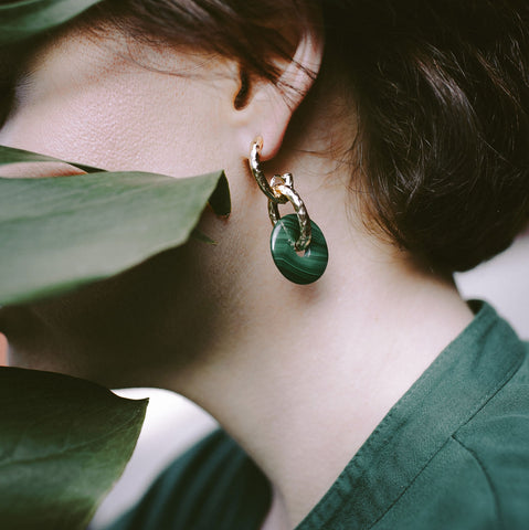 Malachite Donuts Earrings