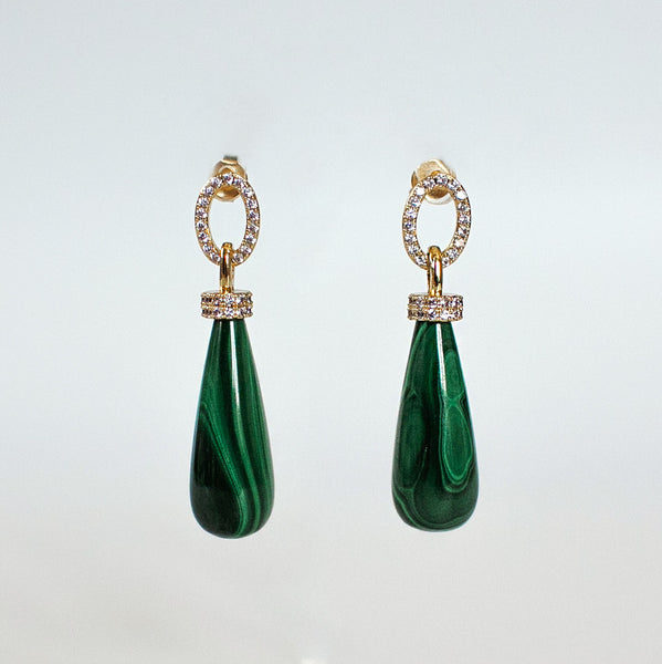 Malachite Teardrops Earrings