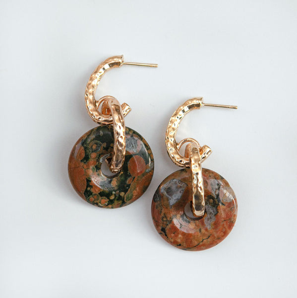 Jasper 3 Donuts Earrings