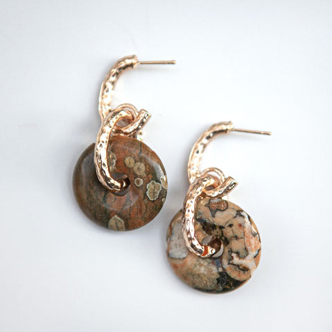 Jasper 4 Donuts Earrings