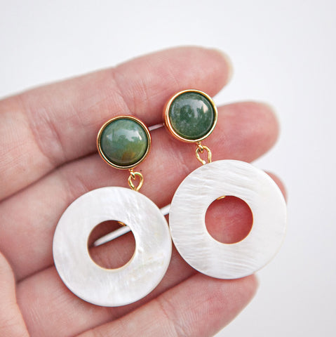 White Rings Earrings