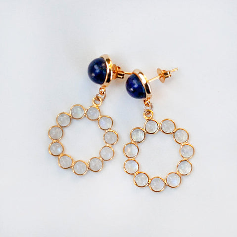 Sodalite & Moonstone Earrings