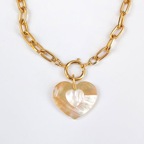 Heart PWR Necklace in white