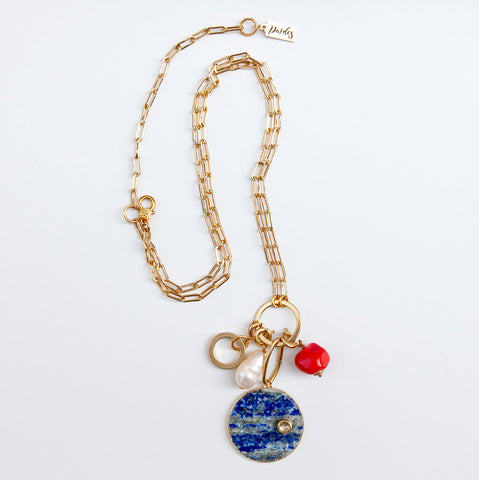 Breeze Charm Necklace in navy