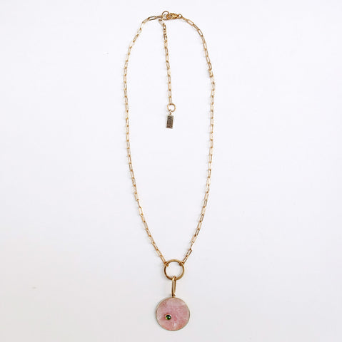 Breeze Charm Necklace in pink