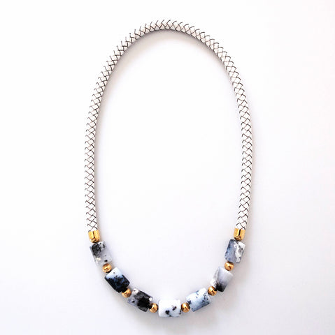 Dendritic Agate Necklace in white