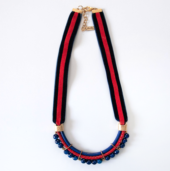 Navy and RED Velvet Necklace