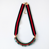 Green and RED Velvet Necklace