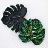 Monstera Embroidered Brooch