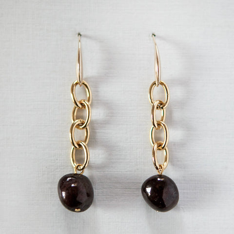 Garnet Gold Chain Earrings