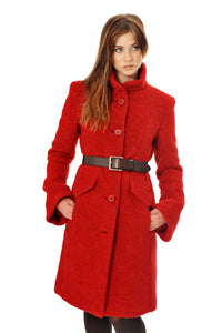 Red wool winter coat with high collar and belt detail.