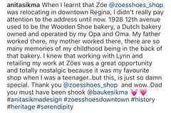 Anita Sikma text on The Little Wooden Shoe Bakery and ZÖE on 12th