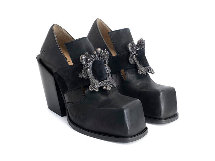 Stand Up, Bader, Black - Buckled Platform Shoe