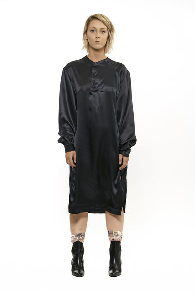 SARA ARMSTRONG ASYMMETRICAL HENLEY SHIRT DRESS