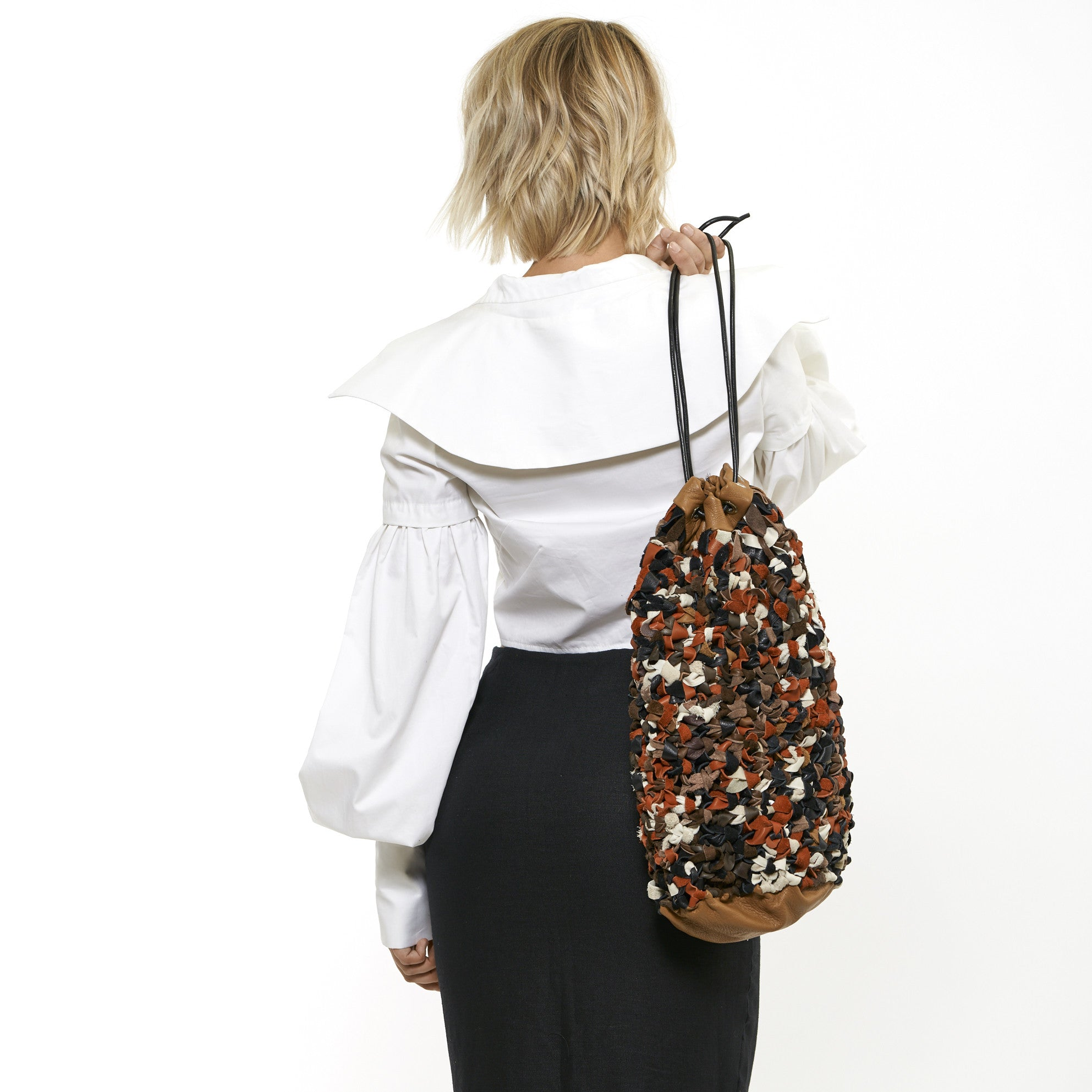 SARA ARMSTRONG + DANICA KASPAR LEATHER BUCKET BAG