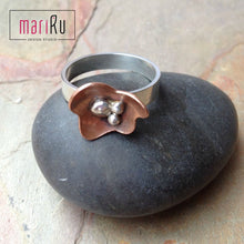 Flores- Sterling Silver and Copper Rings - Flower Band Ring