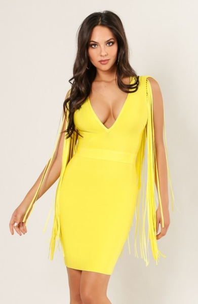 Fringe Yellow Bandage Dress