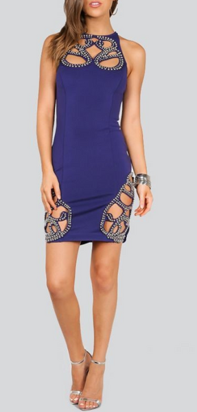 Navy Blue/Silver Beaded Racer Back Bandage Dress