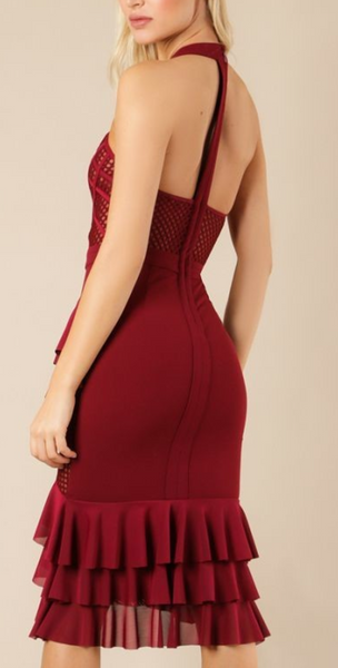 Merlot O Neck Bandage Dress
