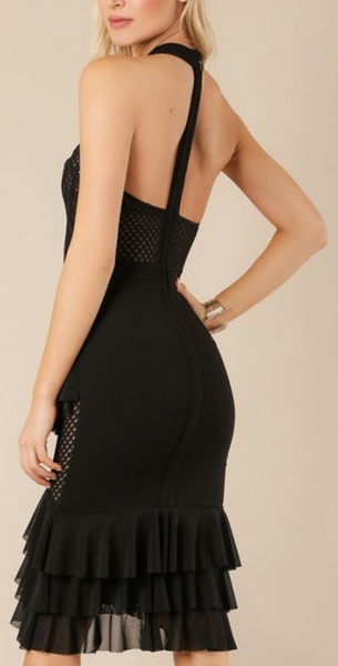 Black O Neck Bandage Dress