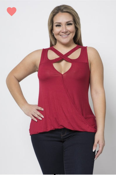Sleeveless Twist Neck Top