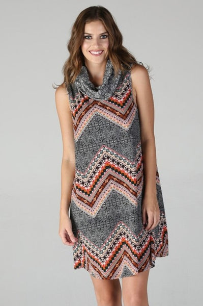 Cowl Neck Sleeveless Mini