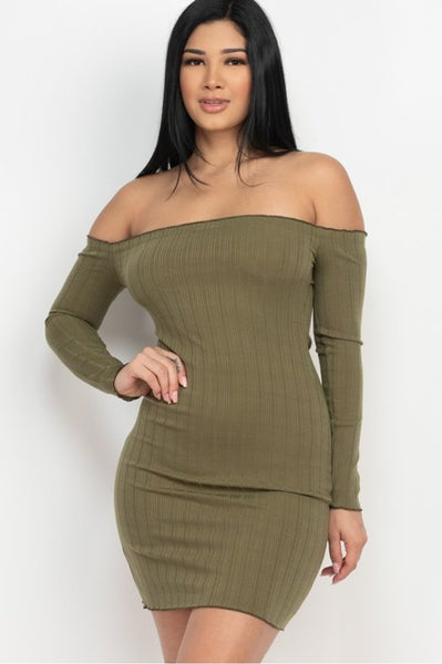 Off The Shoulder Long Sleeve Mini