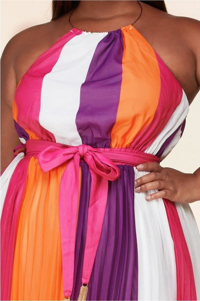 Striped Halter O Ring Dress