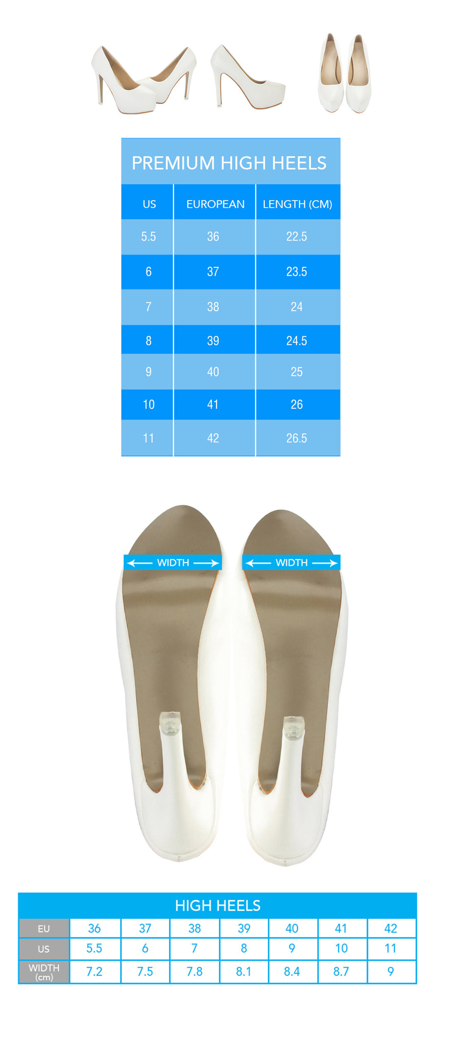 Custom Print High Heel Shoe Sizing Chart