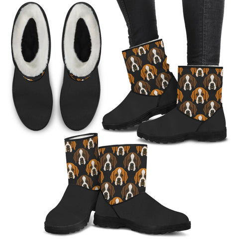 St Bernard Face Pattern Furry Boots