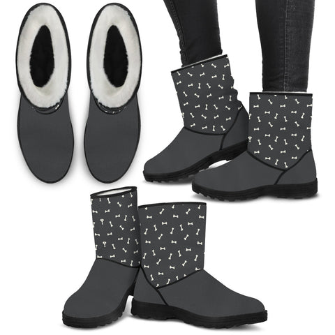 """Dog Bones Pattern""  Furry Boots"