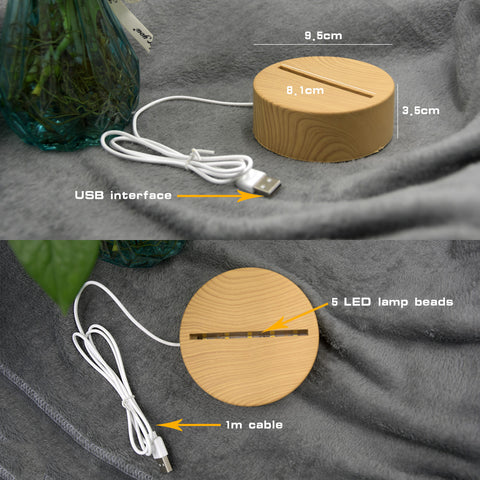 Image of 2020 Newest 3D LED Lamp Creative Wood grain Night Lights Novelty Illusion Night Lamp 3D Illusion Table Lamp For Home Decorative