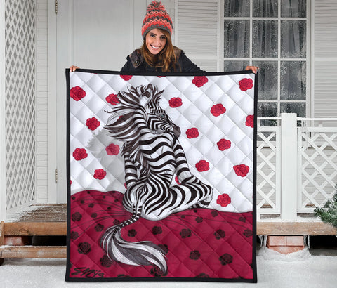 Zebra On A Bed Of Roses Quilt