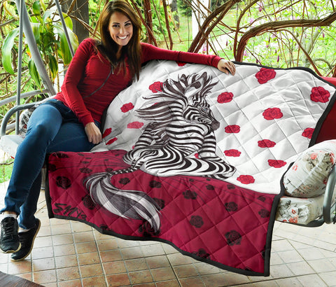 Image of Zebra On A Bed Of Roses Quilt