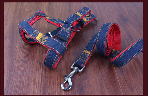 New Arrival Colorful Denim Dog Harness and Leash
